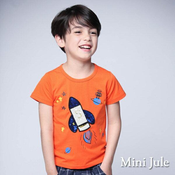 《MiniJule童裝》上衣閃耀火箭星球印花短袖T恤(橘)