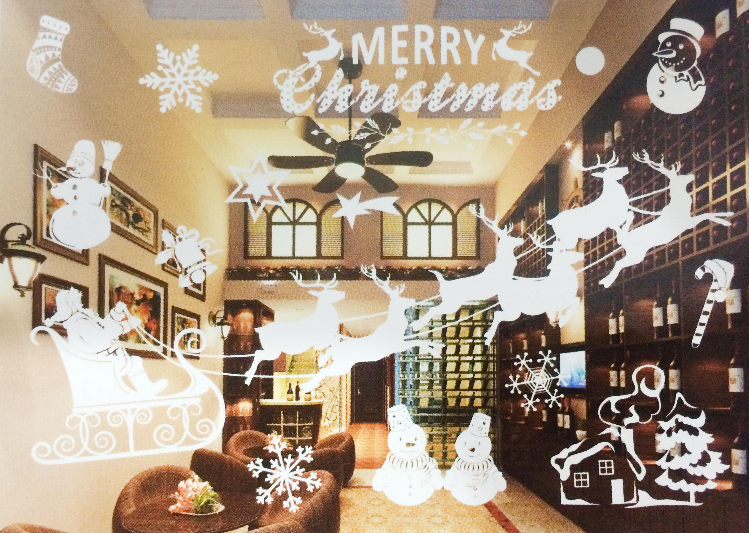 X射線【X150012】麋鹿老人(白色) 靜電窗貼,聖誕節/聖誕擺飾/聖誕佈置/聖誕造景/聖誕裝飾/玻璃貼/牆面佈置/壁貼