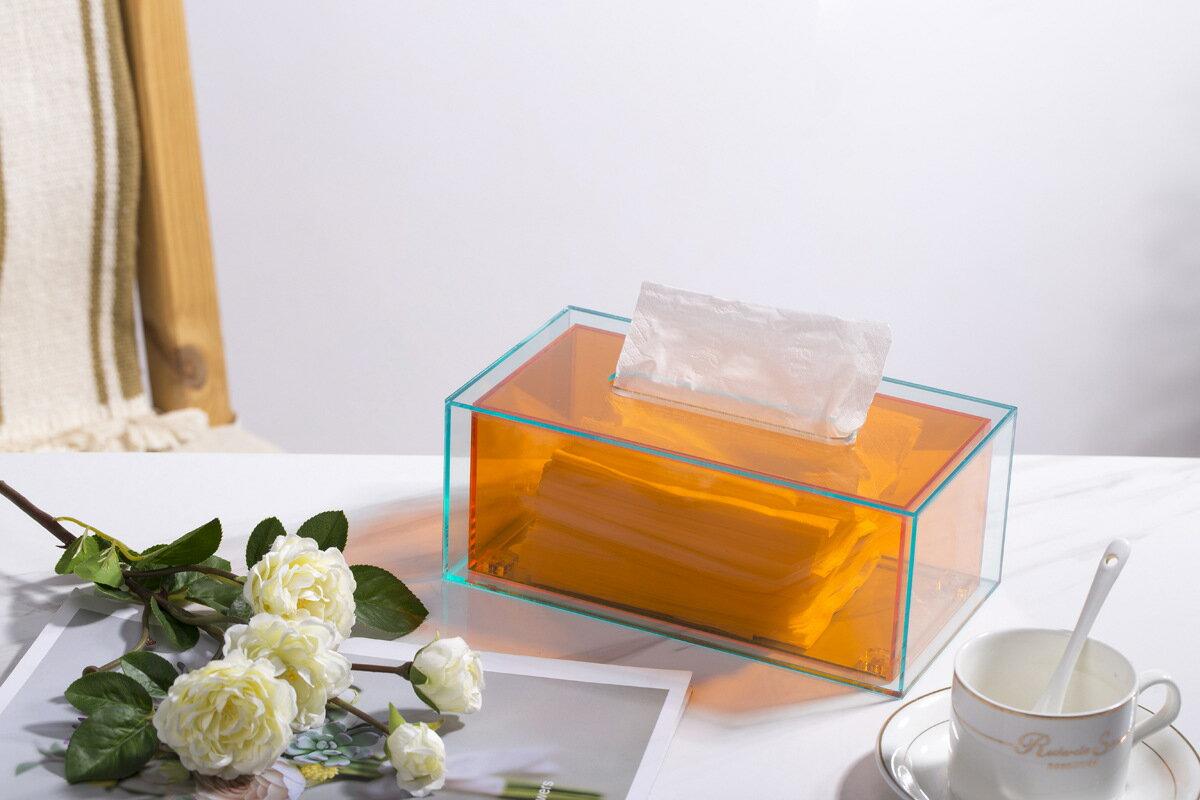 簡約現代亞克力紙巾盒餐桌收納抽紙盒茶幾紙抽盒家用客廳創意擺件