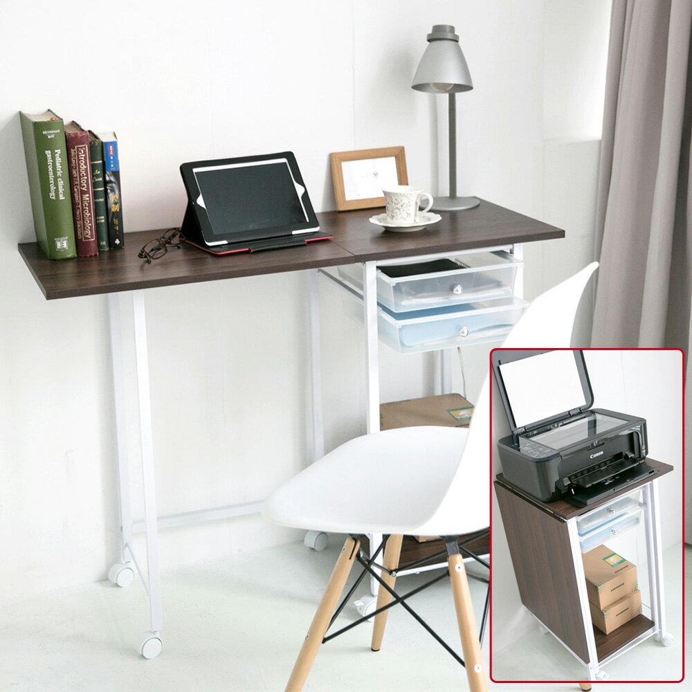 電腦桌/辦公桌 繽紛粉色移動式摺疊桌附抽屜 MIT台灣製 完美主義【I0037】