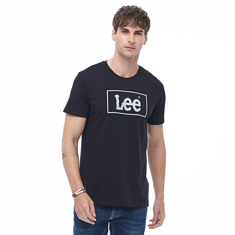 Lee 短T 方框LOGO 圓領 男 黑 1