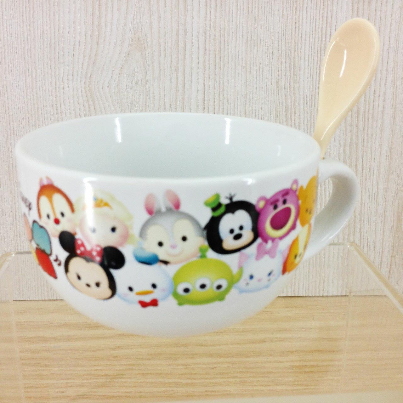 【真愛日本】 16010500002 陶瓷湯杯附匙-TSUM排排 Disney TsumTsum 米奇 杯子 馬克杯