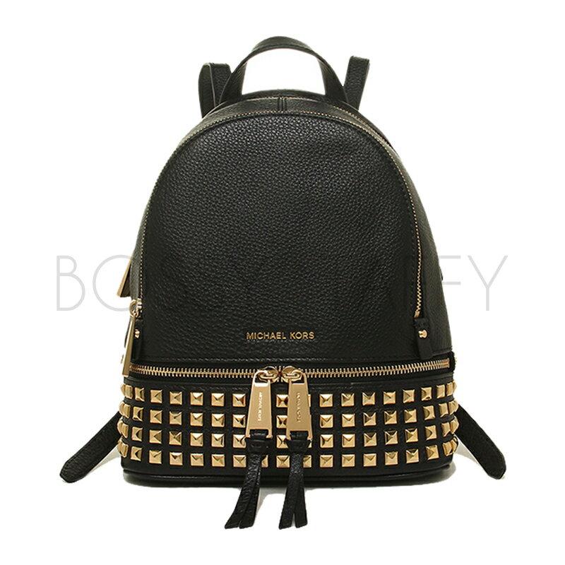MICHAEL KORS 30H5SEZB1L 黑色皮革時尚金色鉚釘後背包 Rhea Zip Studded Backpack black