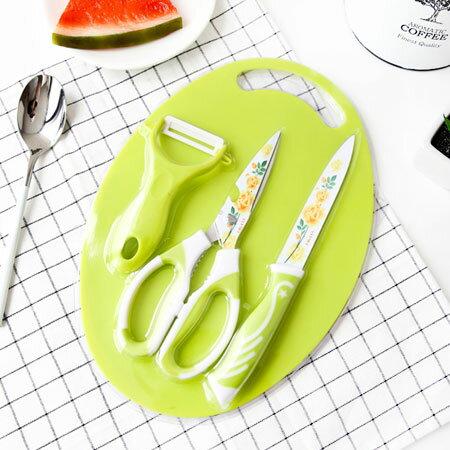 居家生活 水彩玫瑰雙色三件套刀具組 附砧板 剪刀 3合1 刀具組 刀具 菜刀 料理剪刀【N102374】