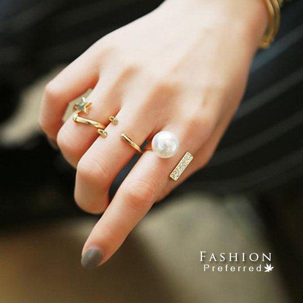 金色星體造型三件套戒指LB045【櫻桃飾品】【LB045】