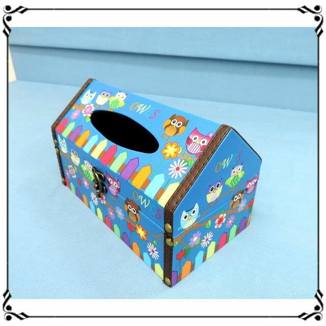 屋型面紙盒《LJ3》ZAKKA 貓頭鷹皮革面紙盒 木製面紙盒 屋型收納盒◤彩虹森林◥