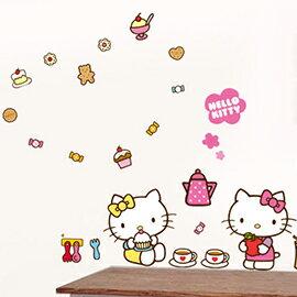 WallFree 窩自在 DIY 無痕創意牆貼/壁貼-Hello Kitty午茶時光