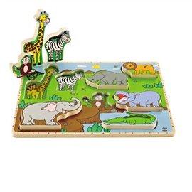 【淘氣寶寶】德國Hape愛傑卡-嬰幼兒拼圖系列野生動物立體木拼圖