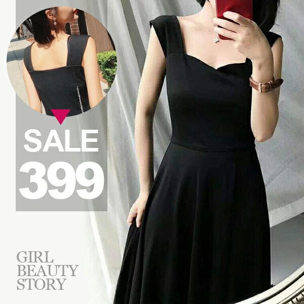 SISI【D8082】韓國名媛氣質小香風修身無袖縮腰顯瘦傘狀裙襬連身長裙洋裝