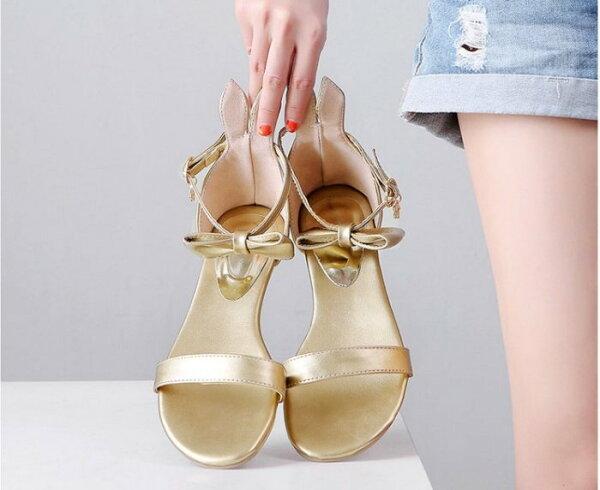 Pyf♥俏皮兔耳朵蝴蝶結扣帶平底一字涼鞋舒適好走加大48大尺碼女鞋