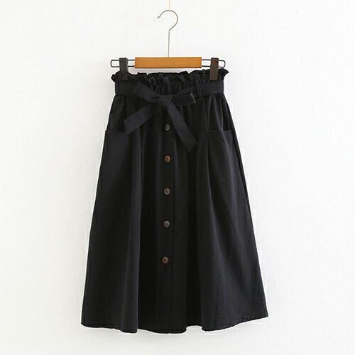 *ORead*小清新大口袋高腰棉麻繫帶半身裙(4色F碼) 3
