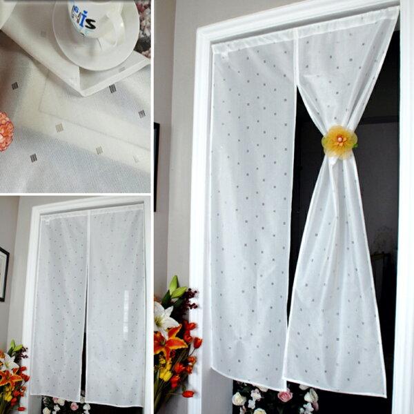 極簡白微方格門簾【寬85高150cm】日式設計☆純白舒適