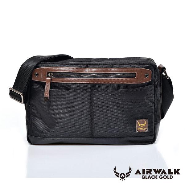 AIRWALK -【禾雅】黑金系列 - 榮耀時刻方塊側背包/休閒包《大》 - 皮質黑