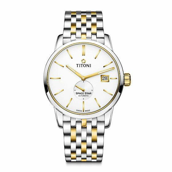 TITONI瑞士梅花錶天星系列83638SY-606簡約經典腕錶金40mm