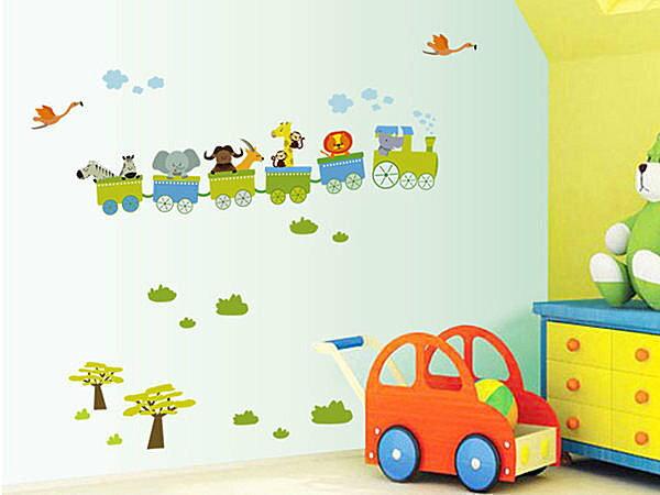 BO雜貨【YP1289】高品質創意牆貼璧貼 卡通壁貼 兒童房佈置 兒童房設計 動物小火車