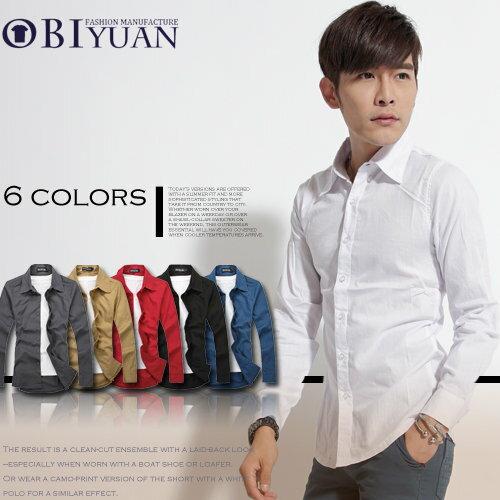 襯衫~ST2837~OBI YUAN 韓國繽紛多色紳士款簡約腰身剪裁素面窄版長袖襯衫共5色