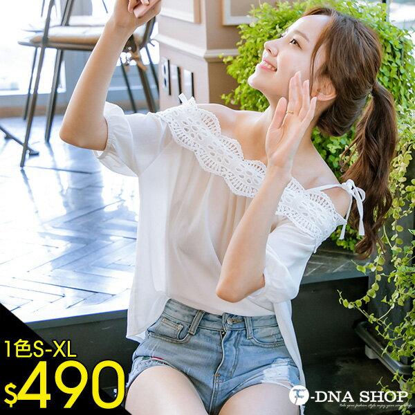 F-DNA★甜美肩綁帶蕾絲雪紡上衣(白-S-XL)【ETD2279】 0