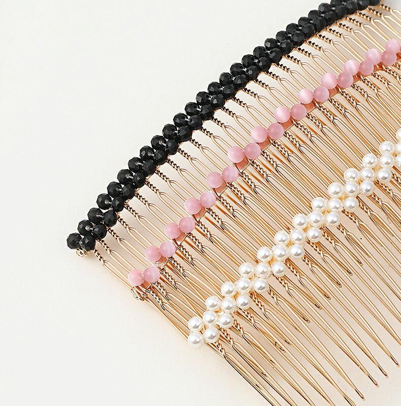 少女網紅珍珠水鉆發夾古風倒梳發梳插梳韓國簡約發卡劉海夾女