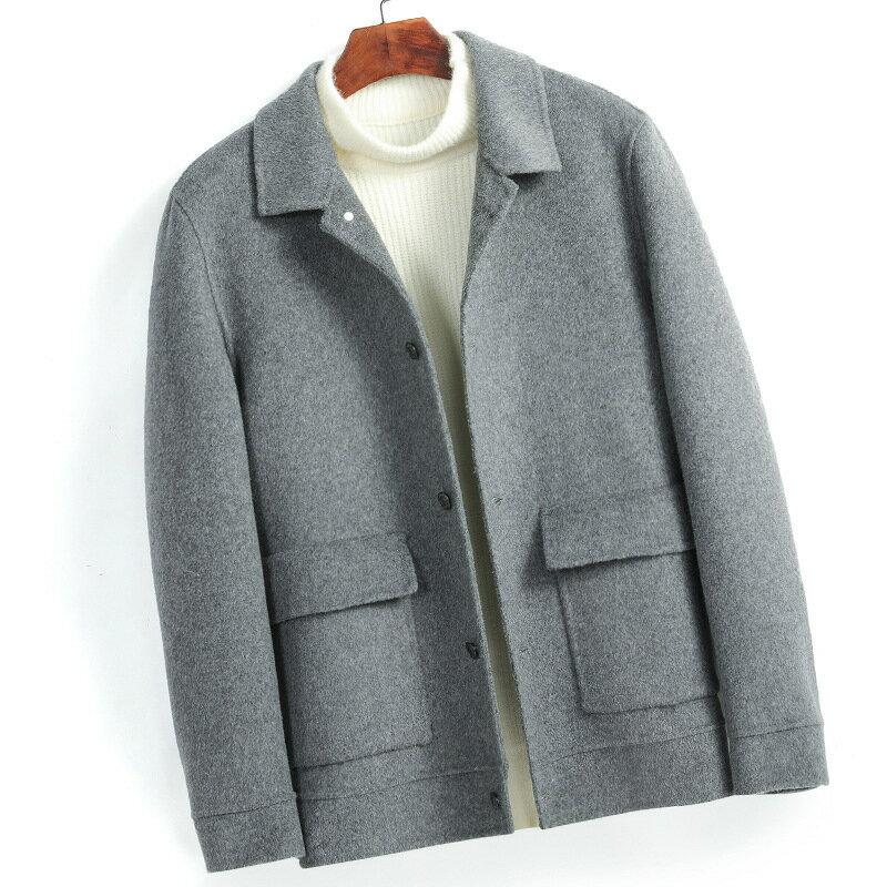 毛呢大衣短版風衣-翻領休閒純色保暖男外套3色73wk26【獨家進口】【米蘭精品】 2