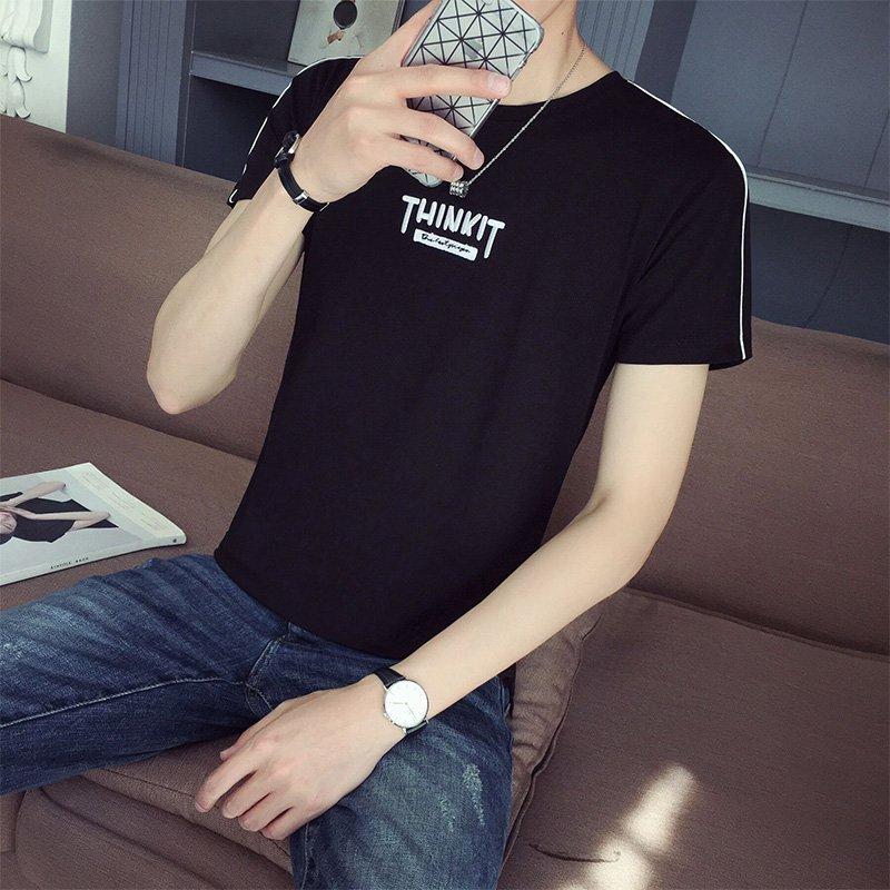 FINDSENSE H1 2018  夏季 新款 字母刺繡  圓領 百搭 短袖 修身  T恤  潮流 時尚 男 短袖