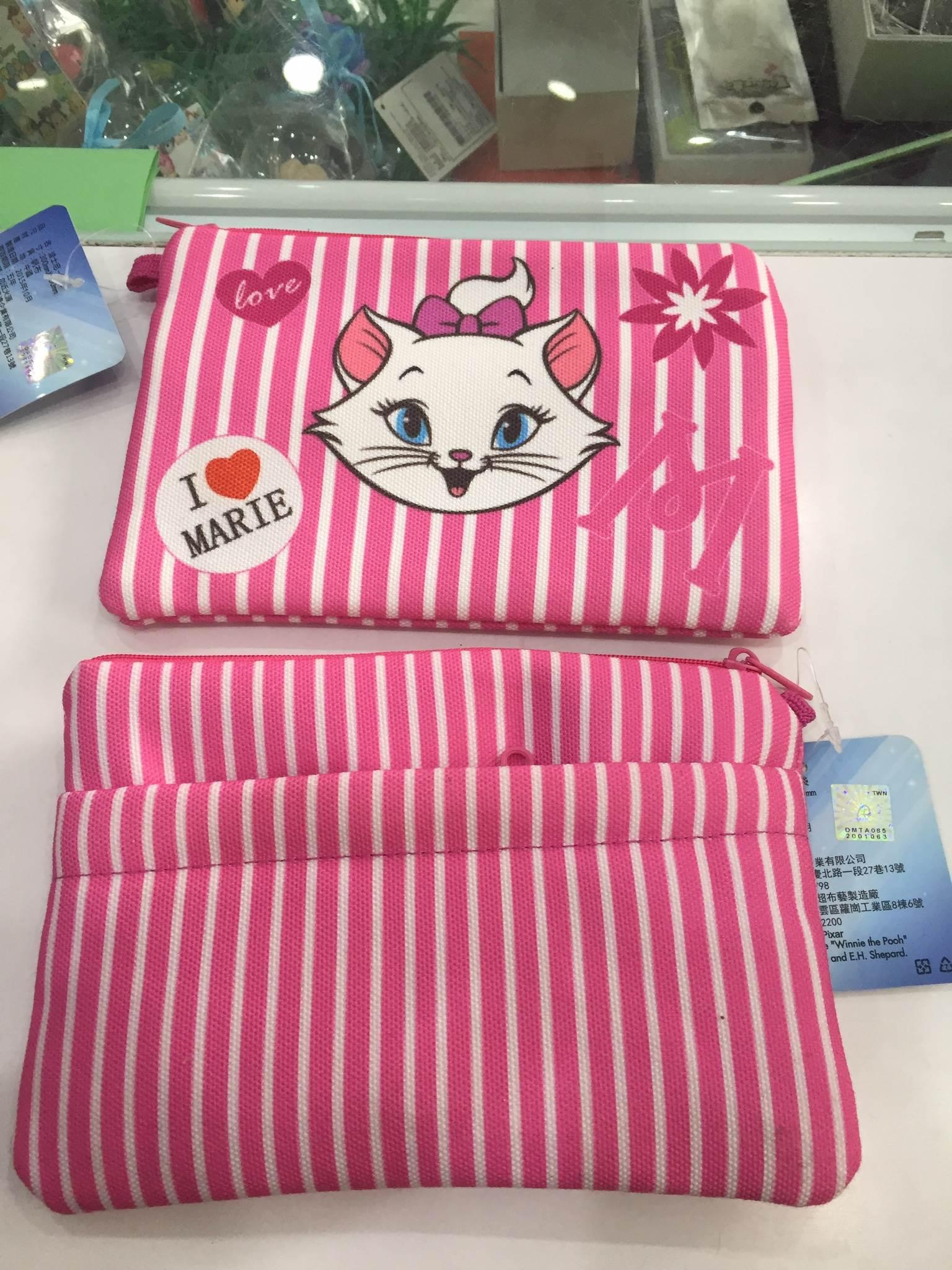 【條紋-瑪麗貓】迪士尼 條紋系列 布包 化妝包 手拿包 零錢包 手機包 Disney