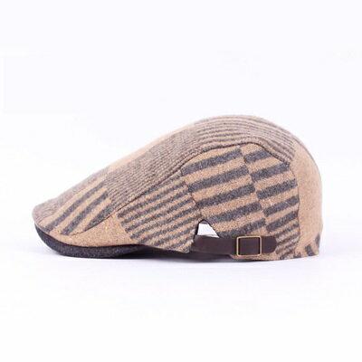 貝雷帽鴨舌帽-拼色條紋毛呢保暖男女帽子73tv148【獨家進口】【米蘭精品】