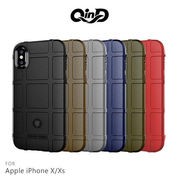 【愛瘋潮】99免運 QinD Apple iPhone X / Xs 戰術護盾保護套 邊緣全包 減震抗摔