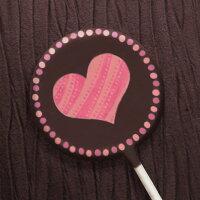 本命巧克力、義理巧克力推薦到情人節送禮小物-粉紅愛心巧克力棒棒糖-圓點框愛心 (單品)就在KREATIVE CHOCOLATE推薦本命巧克力、義理巧克力