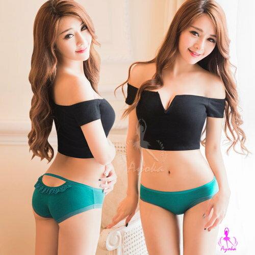 愛的蔓延 美臀挖洞造型低腰三角內褲(碧綠) 性感內褲 情趣內褲 NA11010020-4 - 限時優惠好康折扣