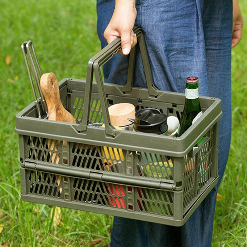 塑料折疊籃子家用零食筐收納筐后備箱整理儲物籃野餐籃手提購物籃