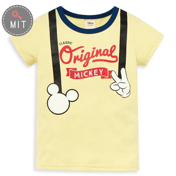Disney米奇系列復古小紳仕圓領上衣-黃色