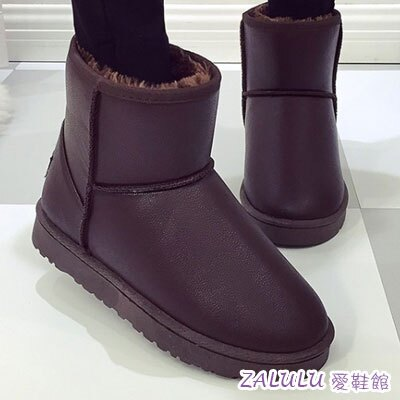 ☼zalulu愛鞋館☼ JE020 防水 款百搭簡約縫線短筒平底雪靴~黑 咖啡~偏小~36