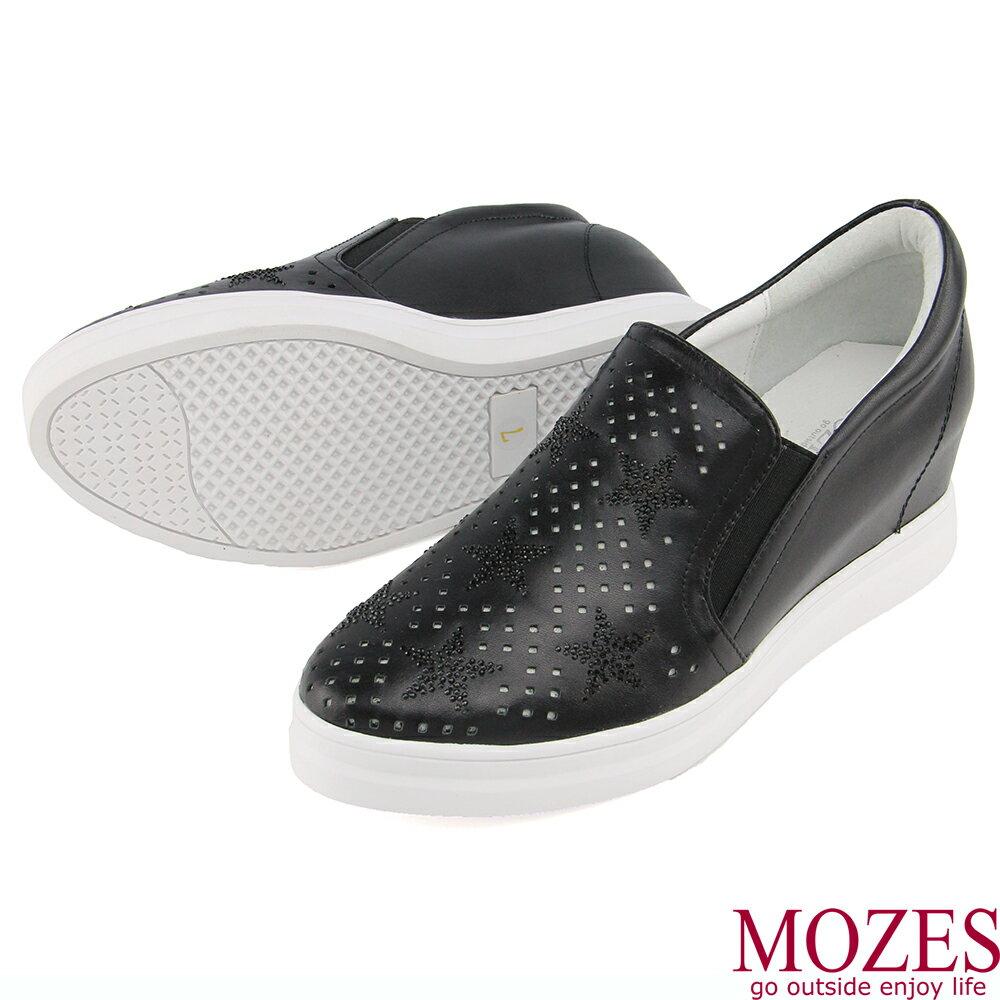 【MOZES】正韓空運-水鑽壓紋真皮內增高休閒鞋 4