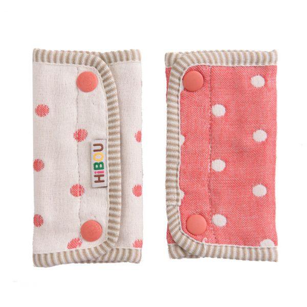 ollobaby瓦吉司 - HiBOU喜福 - 六層紗背巾口水巾 (水玉紅) 0