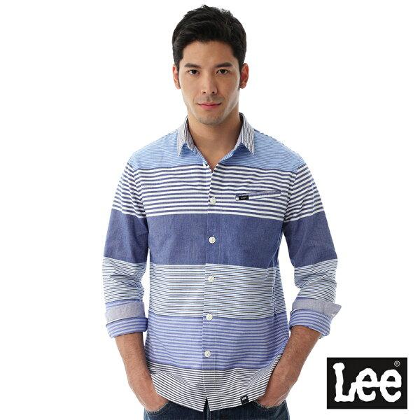 Lee橫條紋長袖襯衫RG-男款-藍
