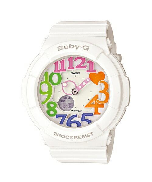 CASIO BABY-G BGA-131-7B3霓虹白雙顯流行腕錶/白面43.1mm