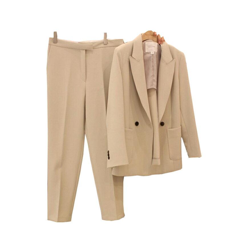 西裝套裝西裝外套+長褲(兩件套)-春夏純色翻領韓版女西服3色73xs1【獨家進口】【米蘭精品】