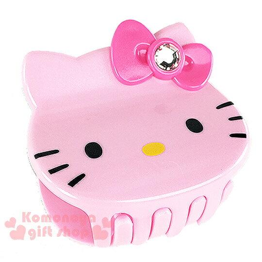 〔小禮堂〕Hello Kitty 造型鯊魚夾《粉.大臉.粉蝴蝶結》甜美可愛