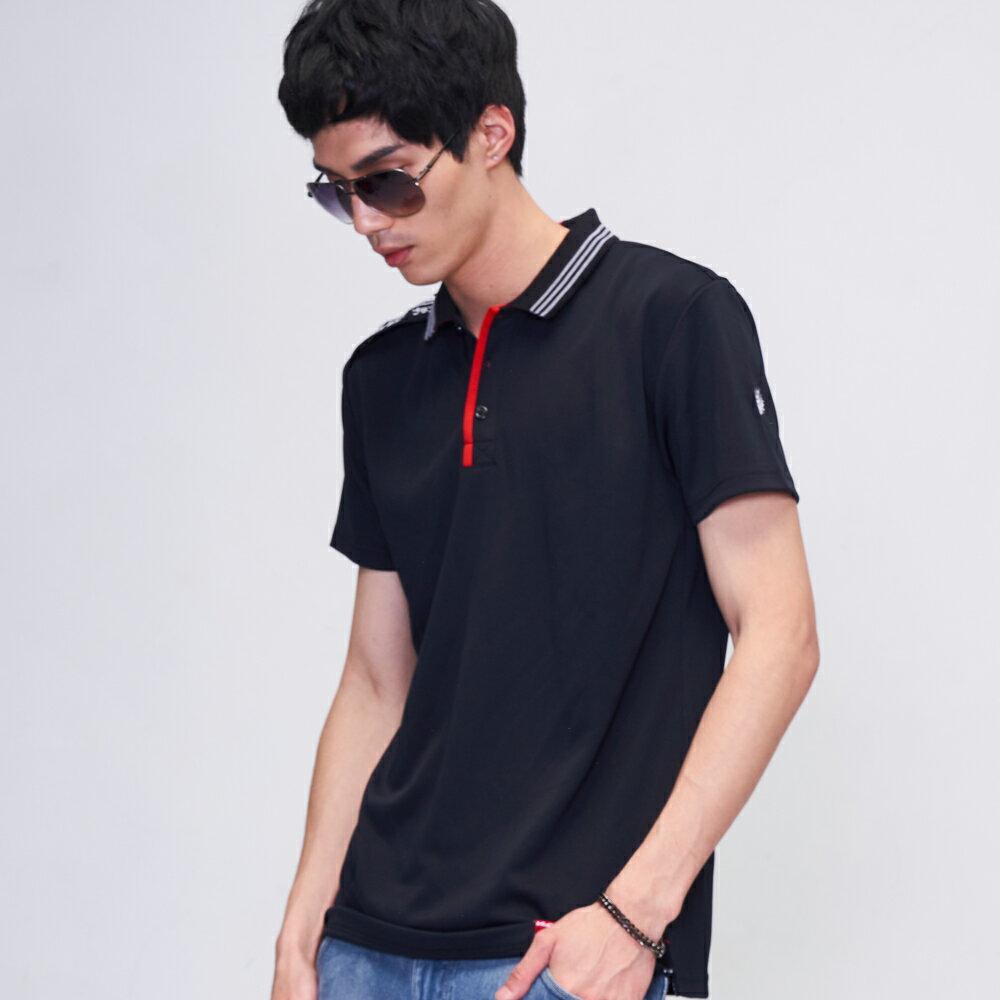 BLUE WAY  鬼洗 涼感吸濕排汗撞色運動POLO衫(黑) 1