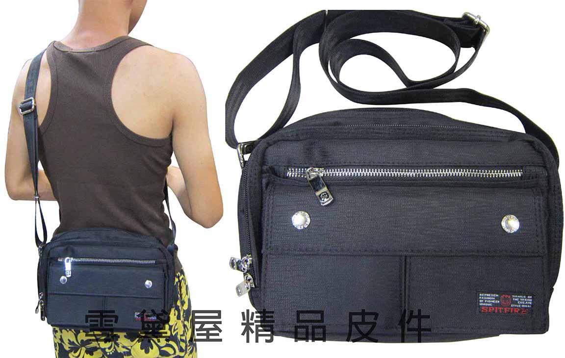 ^~雪黛屋^~SPITFIRE 肩側包二層拉鍊式主袋口多外袋 隨身物品肩背可斜側背防水尼龍