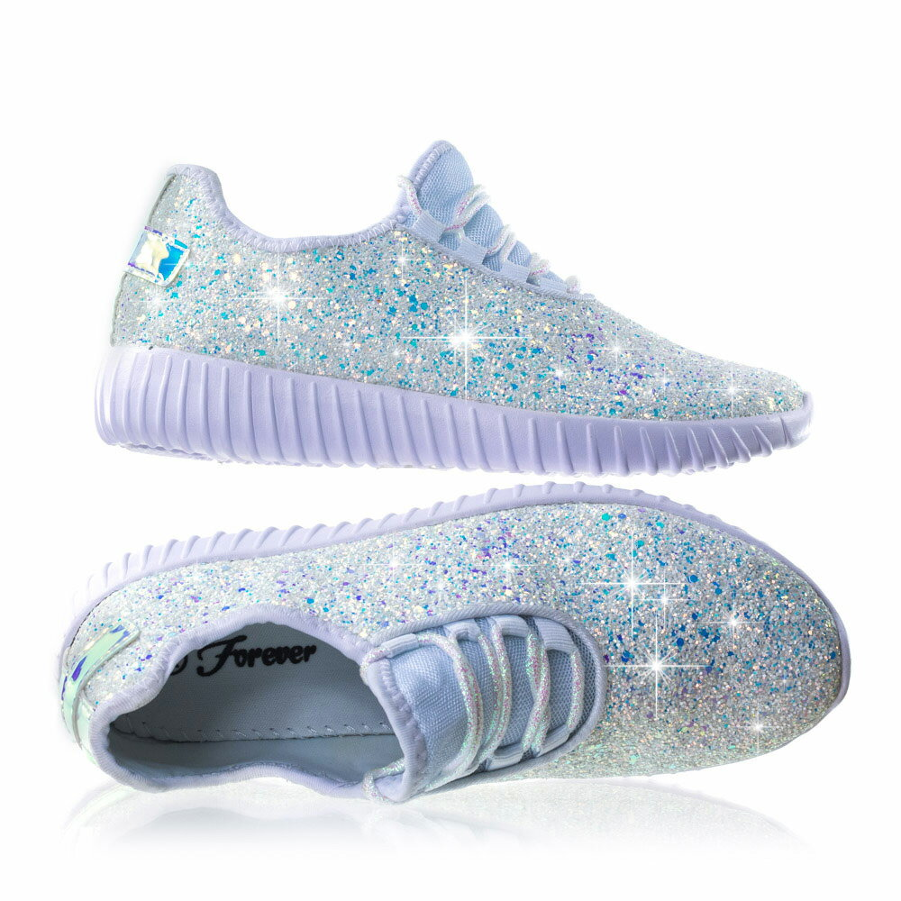 791d2394e983 Remy18k White by Forever Link Lace up Rock Glitter Fashion Sneaker For  Children   Girl