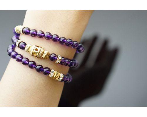 天然紫水晶6mm 手鍊,提昇靈性,神秘而浪漫,增進人緣及異性緣。 145.85ct