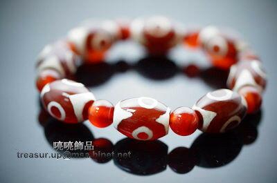 """紅色三眼天珠寶生佛的圖形表徵,則表示些珠能生出一切財寶的意思。功德利益具有增加財富的效益!即天時、人和、"""" 地利 """"的象徵。代表佛之身、口、意圓滿相好一切,可心想事成,並象徵財富不斷,增財添壽,是一顆.."""