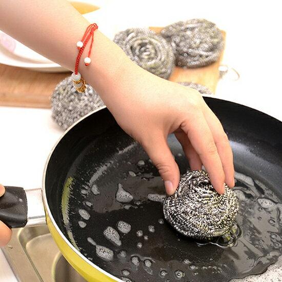 ♚MY COLOR♚不鏽鋼鋼絲球(四入) 球刷 廚房 鍋具 清潔 去汙 洗碗 餐具 刷子【M143-1】