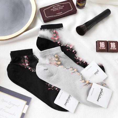 韓國碎花風格透膚襪短襪襪子透膚襪造型襪流行襪碎花透膚少女襪【N102991】