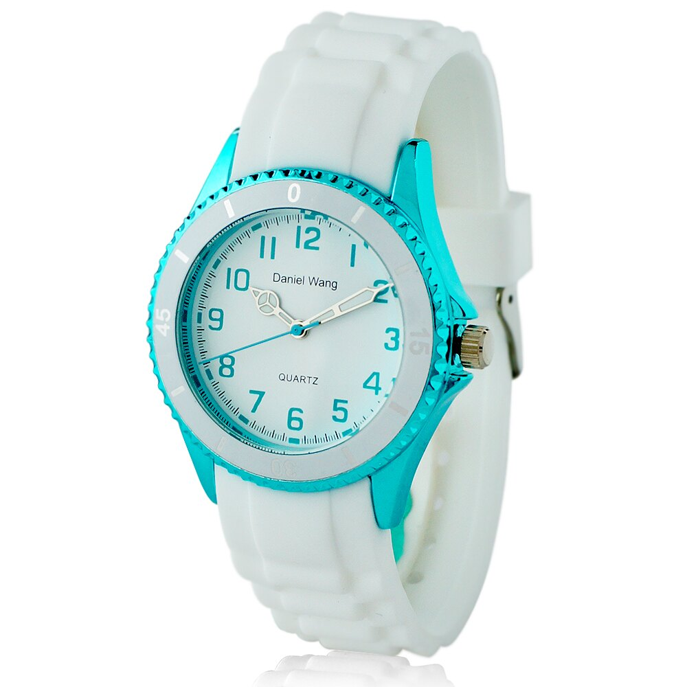Daniel Wang 3150 炫光雙圈 矽膠中性小型腕錶~白