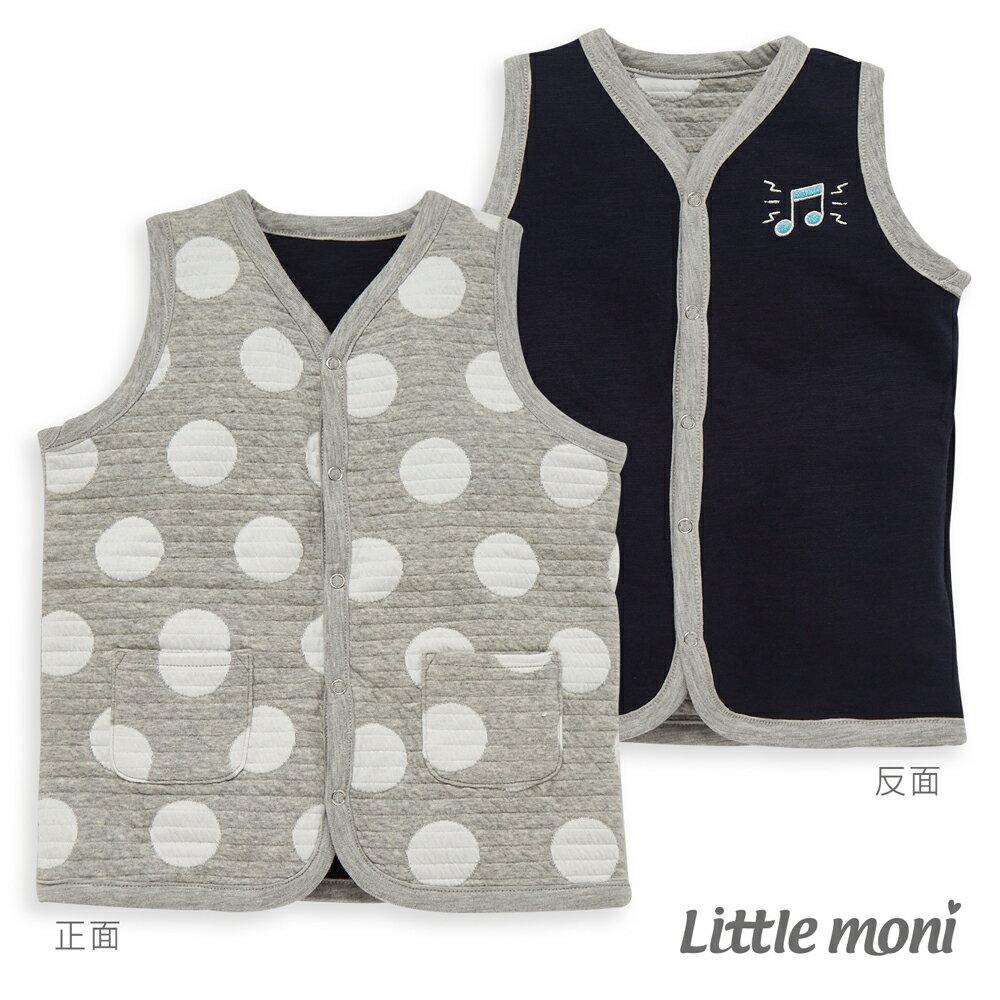 Little moni 雙面穿點點鋪棉背心-灰色(好窩生活節) - 限時優惠好康折扣
