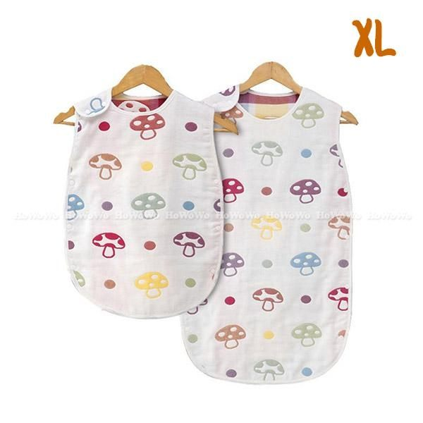 嬰兒睡袋 蘑菇六層紗防踢背心 紗布睡袍 防踢被 XL號 RA01474 好娃娃