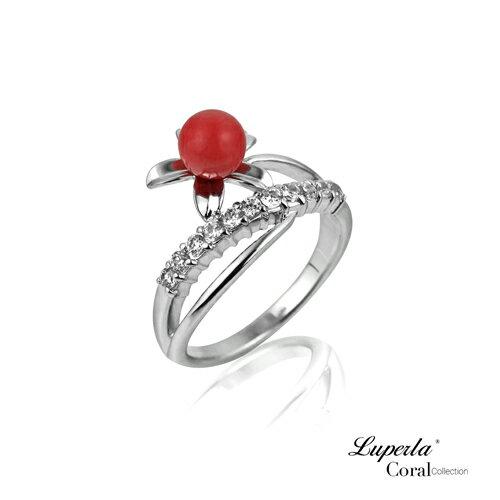 大東山珠寶 花團錦簇 全紅珊瑚純銀戒指