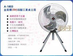 【尋寶趣】金展輝 18吋 四腳工業扇 180轉 風量大 電扇 電風扇 桌扇 台灣製 涼風扇 工業立扇 A-1803
